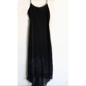 Byer Too Black Glitter Embroidered Maxi Dress
